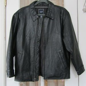 Gap Black Leather Jacket Size L